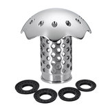 Stainless Steel Bath Tub Floor Drain Stopper Protector Hair Catcher Strainer+4 Rubbers