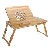 Mesa para laptop Nature Bamboo Mesa para computador simples com ventilador para cama Sofá Mesa dobrável ajustável para laptop