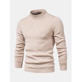 Suéteres de malha masculina com textura de cor sólida