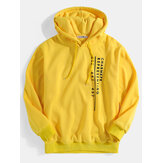 Mens Letter Print Long Sleeve Yellow Drawstring Hoodies