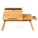 Wooden Laptop Desk Portable Folding Desk Sofa Bed Notebook Stand Study Table with Drawer + Cup Holder + Phone/Tablet Slot