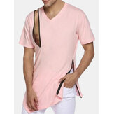 Men's Soft Causal Fitness Zipper T-Shirts V Neck Irregular Hem Slim Fit Tee Tops