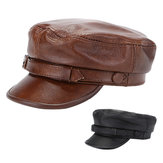 Unisex Genuine Leather Breathable Flat Hats Adjustable Cap