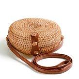 KvinderRoundStråBeachBagVintage Rejse Crossbody Bag