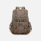 Men Vintage Canvas Leather Backpack Waterproof Travel Bag