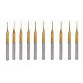 Drillpro 10pcs 0.6mm Titanium Coated Engraving Milling Cutter Carbide End Mill Rotary Burr