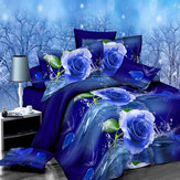 4pcs Suit Polyester Fiber 3D Blauw Rose Bloem Reactief Verven Beddengoed Sets Queen King Size