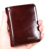 Mężczyźni Genuine Leather RFID Blocking Secure Tri-fold Wallet
