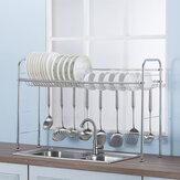 64/74/84 / 94CM Suporte de secagem de prateleira de dreno de prato de rack de cozinha em aço inoxidável sobre a pia