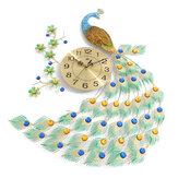 Accueil grand paon en métal luxe diamant horloge murale salon art décor