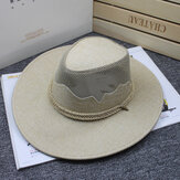 Men Women Outdoor Mesh Breathable Cowboy Hat Travel Sunshade Visor Hat