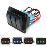 3 Gang 12V / 24V Toggle LED Wippschalter Panel On-Off Auto Marine Boat Wasserdicht