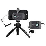 Comica CVM-WS50C 6 csatornás állítható klip típusú vezeték nélküli mikrofon iPhone Android okostelefonhoz Mini állvány Videofelvétel Élő közvetítés interjú