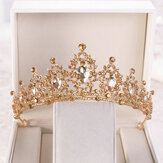 Gold Crystal Tiara Crown Wedding Wedding Headwear Birthday Prom