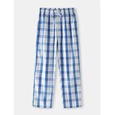 Uomo Classic Pigiama per la casa in cotone con coulisse stampa plaid Pantaloni con tasca