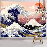 Tapiz de estilo japonés, tapiz de la gran ola oceánica, tapiz colgante de pared del monte Fuji para decoración de dormitorio