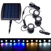 Solar Powered 3 Projectores subaquáticos impermeáveis IP68 LED Jardim exterior Piscina Luzes da paisagem da lagoa