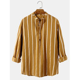 100% Cotton Mens Classic Stripe Print Long Sleeve Henley Shirts