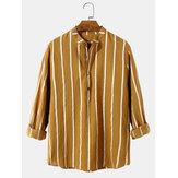 100٪ قطن رجالي Classic شريط طباعة كم طويل قمصان هينلي