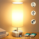 2 USB Charging Ports Metal Bedside Table Desk Lamp Nightstand Bedroom Light Home
