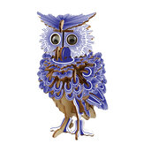 3D Woodcraft Assembly Kit Blue Owl With Eyes For Children Toys