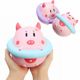 YunXin Squishy Jumbo Piggy 16cm Pig Wearing Lift Buoy Slow Rising Cute Collection Gift Decor Toy