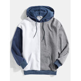 Mens Patchwork Kangaroo Pocket Drop Shoulder Design Hoodies