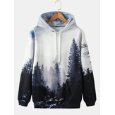 Mens Design Forest Landscape Print Drawstring Hoodies With Pocket