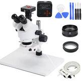 7X-90X Microscope trinoculaire à zoom stéréo grand support de Table avec caméra de Microscope 48MP 2X lentille d'objectif auxiliaire