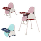 3-in-1 Kids Feeding Chair Baby Toddler Adjustable Highchair Booster Play with Tray Wheel
