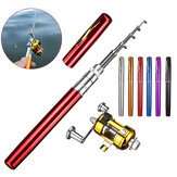 LEO Y4515 Portable Mini Telescopic Pocket Pen Fish Rod Aluminum Alloy Lightweighted Fishing Rod + Fishing Reel