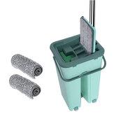 360 ° Flat Squeeze Mikrofaser Mop Bucket Home Bodenfliesen Reinigung + 2/6 Pads