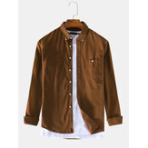Men Thin Corduroy Button Decoration Vintage Shirts