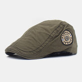 Men Cotton Letter Embroidery Solid Color Casual Adjustable Flat Hat Beret Hat Forward Hat