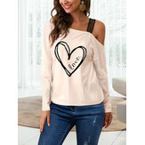 Graphic One Shoulder Long Sleeve Casual Blouse
