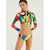 Plus size vrouwen geometrische print Zip Front surfen badmode zonnebrandcrème met lange mouwen Bikini