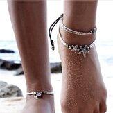 Perline d'epoca in argento con cavigliera per donna