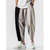 % 100 Pamuk Patchwork Katı Elastik Bel Pantolon