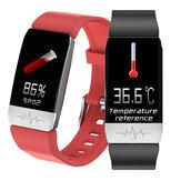 [Detecção de temperatura corporal] Bakeey T1S SpO2 Coração Monitor de pressão arterial GPS Rota esportiva Faixa Música Controle de câmera Câmera Relógio inteligente