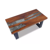 KCASA Unique Teak Square Coffee Table Handmade Living Room Accent Tabletop