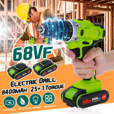 68V Electric Cordless Drill Screwdriver Driver & LED Worklight & 8400mAh Battery