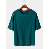 Cotton Mens Solid Color Short Sleeve Simple Casual Crew Neck T-Shirts
