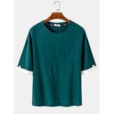 コットンメンズソリッドカラー半袖シンプルカジュアルクルーネックTシャツ