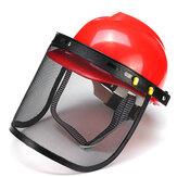 Red Safety Helmet Full Face Maschera Motosega Brushcutte Mesh Per Lawn Mower Trimmer Decespugliatore