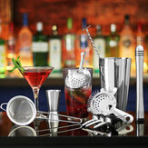 11Pcs Cocktail Shaker Set Mixer Martini Spirits Bar Spoon Jigger Strainer Stand Tools
