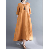 Casual Women Pure Color O-Neck Pocket Baggy Cotton Dress