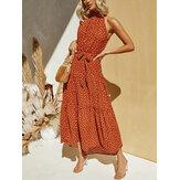 Women Vintage Polka Dot Print Halter Sleeveless Holiday Maxi Dresses