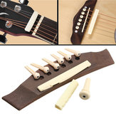 1 Set Professional Guitar Kit Acoustic Guitar Bridge with Bone Pins Saddle Nut