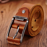 Genuine Leather Men's Belt Casual Waistband Waist Strap Smooth Pin