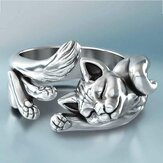 Vintage Cute Silver Plated Cat Rings Jewlery Unisex